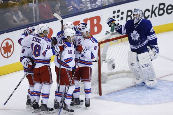 Toronto Maple Leafs play the New York Rangers during the 2nd period