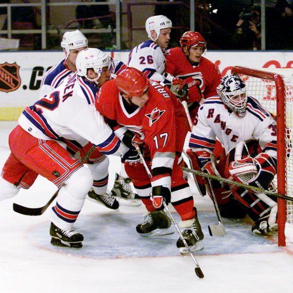 New York Rangers' goalie Mike Richter (35) defends his terri