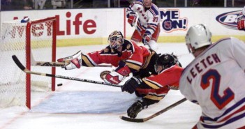 New York Rangers Brian Leetch (2) scores game-tying goal wit