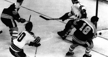 Jack Egers (20) and Eddie Giacomin can't prevent Bobby Orr's goal in the 1970 playoffs. (Photo by Bruce Bennett/Getty Images)