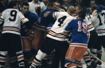 Rangers' Eddie Shack (6) in action during fight vs Chicago Blackhawks at Madison Square Garden 10/19/1960