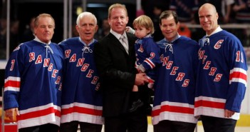 Rod Gilbert, Eddie Giacomin, Brian and Sean Leetch, Mike Richter, Mark Messier