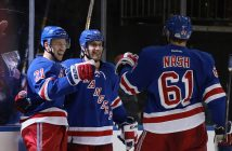 Derek Stepan, Dan Girardi and Rick Nash