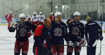 Pavel Buchnevich, center, with coach Ken Gernander
