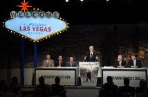 Gary Bettman (third from left) listens to Las Vegas owner Bill Foley.