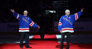 Harry Howell (left) and Andy Bathgate had their numbers retired in 2009.