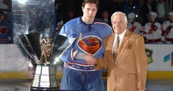 Bernie Geoffrion (right) presents the Rocket Richard Trophy to Ilya Kovalchuk in 2005.