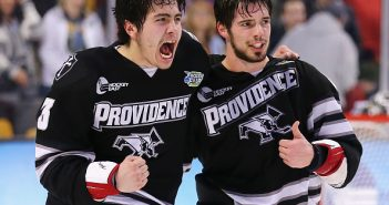 John Gilmour. left, and Providence teammate Kyle McKenzie