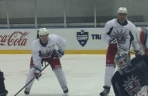 Derek Stepan and Ryan McDonagh at training camp Wednesday